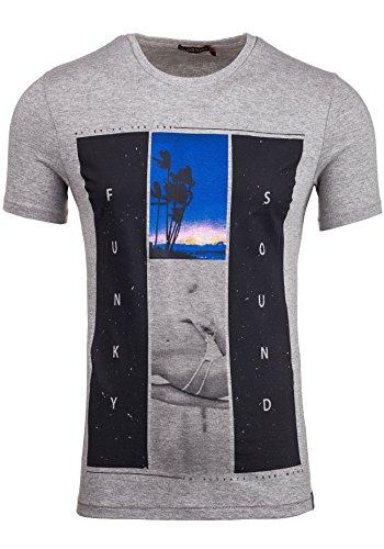 BOLF T-shirt Figurbetont Kurzarm GLO STORY 7452 Grau M [3C3]
