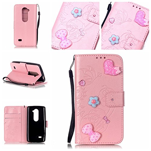 Cozy-Hut-HandyhlleLederhlle-Ledertasche-Hlle-Case-Cover-Etui-Tasche-Silikon-Schutzhlle-Fr-LG-Leon-C40-H340N-H340PU-Leder-Cover-Ledertasche-Drucken-Diamant-Strass-Muster-bunt-Schmetterlings-Blumen-Magn