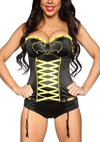 [Undergirl DC Comics Batman Lace Up Corset & Panties Costume Set-Batman-Small] (Robin Corset Costume)