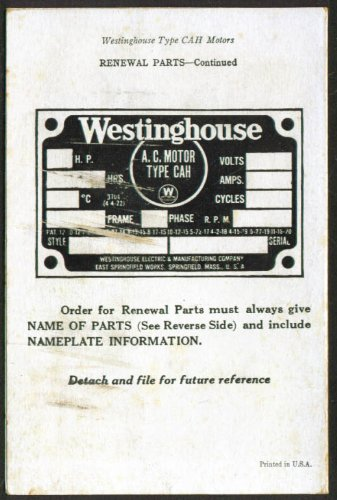 Westinghouse Cah Electric Motor Installation Card 192?