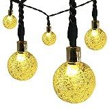 Satu braun Solar Lichterkette, 30Crystal Ball LED-21FT 6,5m Outdoor Weihnachten Soffitte Party Kugelleuchte Festive Ambiente Beleuchtung für Garten, Terrasse, Hof Deck (Warm Weiß)