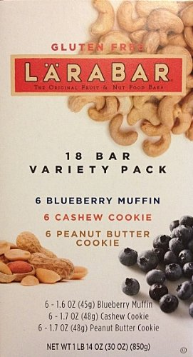 Larabar 18 Bar Variety Pack (6 Blueberry Muffin, 6 Cashew Cookie, 6 Peanut Butter Cookie) Net Wt 30oz