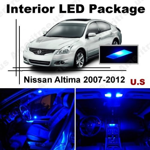 Blue Led Lights Interior Package + Blue Led License Plate Kit For Nissan Altima Sedan 2007-2012 ( 10 Pieces )