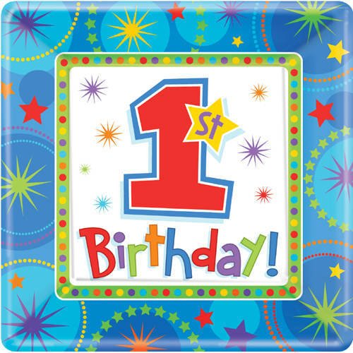 "Amscan One-derful Birthday Boy 10"" Square Plates - 8 ct"
