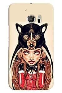 Omnam Girl Wearing Dog Scaff Printed Designer Back Cover Case For HTC 10