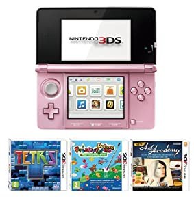 Nintendo Handheld Console 3DS - Pink 3 Game Pack (Nintendo 3DS)