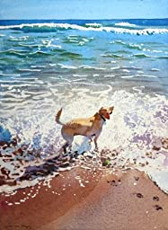 First Taste of the Sea, Archival Print of Watercolor Seascape, Golden Lab Dog Playing at the Beach, 15 X 19 Inches