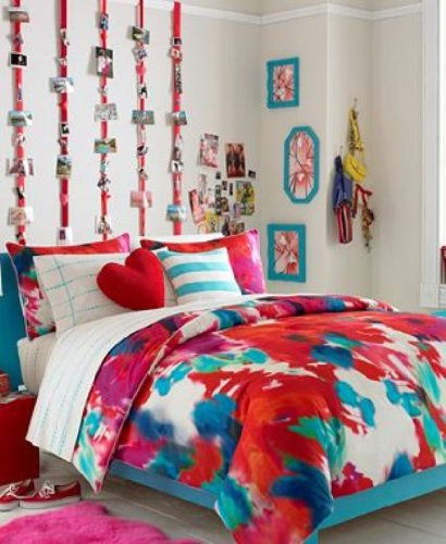 Teen Vogue Poppy Art 2 Decorative Pillow Completer Set Red / Blue