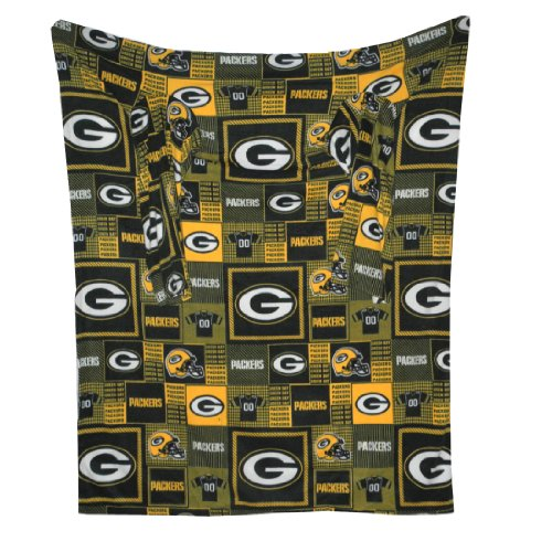 NFL Green Bay Packers 袖が付いている大きいスローブランケットそのソファー枕に折り目 Large Throw Blanket With Sleeves that folds into a Couch Pillow - グリーン&イエロー Green & Yellow