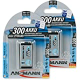 ANSMANN Rechargeable 9V Battery 300mAh pre-charged Low Self Discharge 9Volt NiMH Rechargeable Battery (2-Pack)