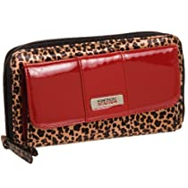 Kenneth Cole Reaction Red Leopard Print Large Urban Organizer Clutch Wallet
