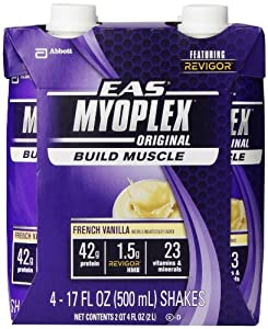 EAS Myoplex Original Ready-to-Drink Nutrition Shake, French Vanilla, 4 Count, 17 Ounce (Pack of 3)