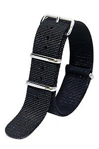 Nylon NATO G10 Fabric Canvas Top Quality Watch Band Strap - 20mm / Black - (J. Crew Timex Weekender Daniel Wellington Military Army)