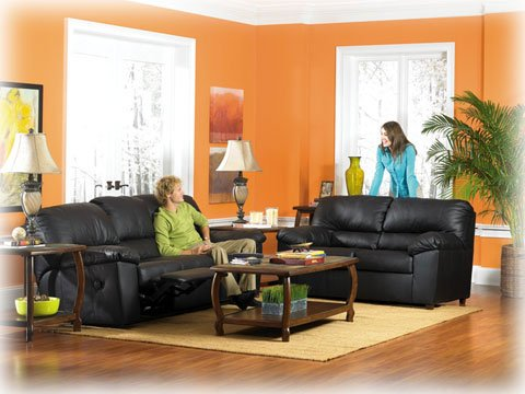 Picture of AtHomeMart Black Reclining Sofa and Loveseat Set (ASLY2600088_2600086_2PC) (Sofas & Loveseats)