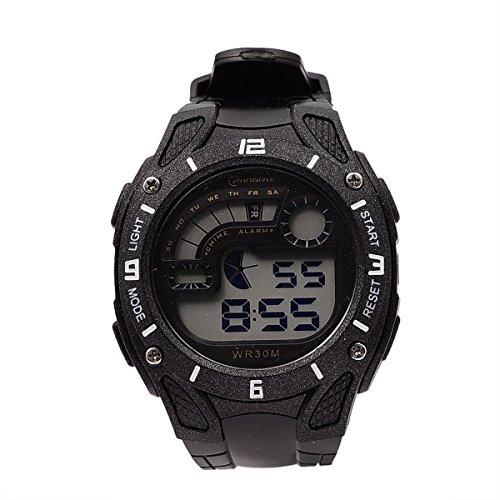 1Pc Mingrui Black Digital Alarm Date Mens Military Sport Quartz Wrist Watch