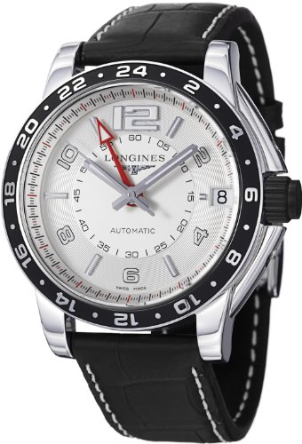 Longines Men's L36684762 Admiral Black Leather Strap Watch