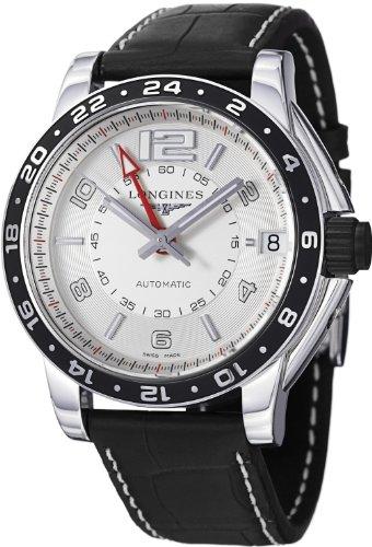 Longines Men's L36684762 Admiral Black Leather Strap Watch