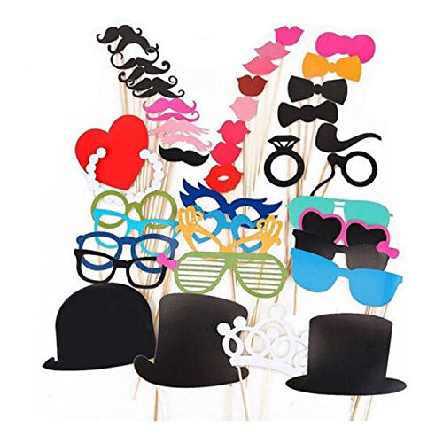 #1 Rate Photo Booth Props ,Alenca 44 pcs Photo Booth Props DIY Kit for Wedding Party Reunions Birthdays Photobooth Dress-up Accessories & Party Favors, Costumes with Mustache on a stick,Hats,Glasses