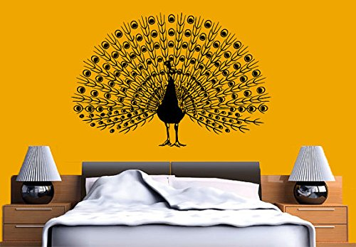 Wall Decal Vinyl Sticker Decals Art Decor Design Peacock Bird Animal Beautiful Feather Tail Pin Bedroom Modern Fashion Style (R 330) front-1039565