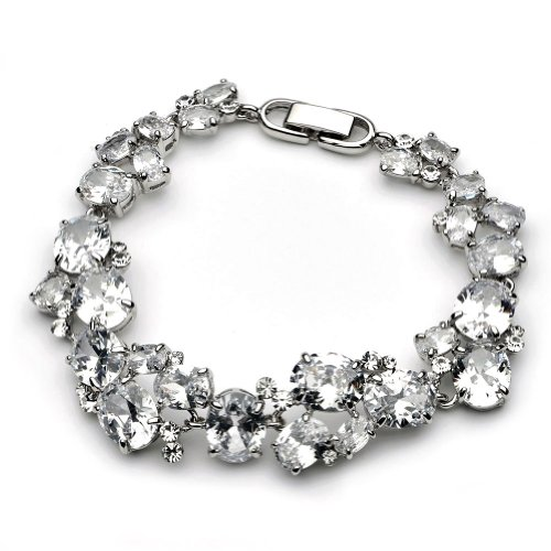 Cubic Zirconia Cluster Bridal Bracelet, Wedding Jewelry for Brides 1276