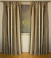 Mali Natural Cotton Blend Lined 90x72 Striped Pencil Pleat Curtains #rtsrev *hc* from Curtains