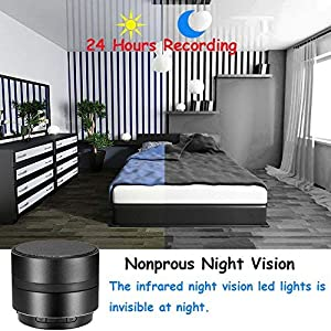 MINGYY 4K HD Bluetooth Speaker Camera WiFi Spy Camera Wireless Hidden Camera Home Night Vision Camera Security System Video Remote View Camera Monitor Baby Office Nanny Cam App Camcorder Kid (Color: black)