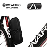 BM WORKS Tool Capsule Black - Cycling Tool Bottle Zip Bag for Water Bottle Cage