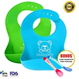 PREMIER BABY BIBS For Growing Toddler, Boys/Girls | 2 Pack Set For Feeding | Perfect Fit For a Gift or Baby Shower - 100% LIFETIME BABY PROOF GUARANTEE! BONUS 2 Spoons With Every Purchase.
