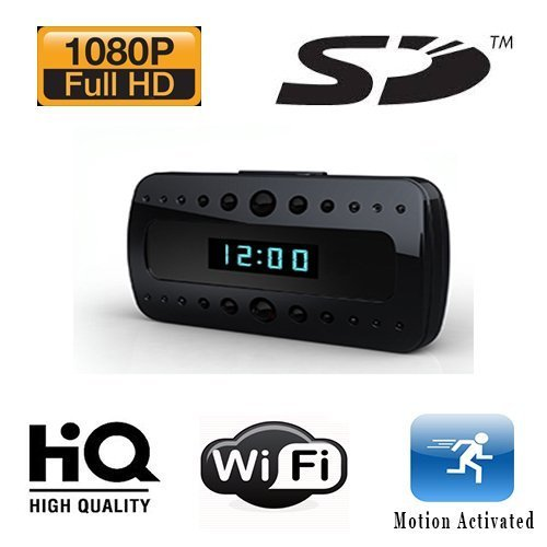 1080p Hd Alarm Clock Hidden Nanny Cam Wifi Dvr And Night Vision 1920×1080 W/ Wireless Streaming Video/ Mobile Viewing/SD Card Recording