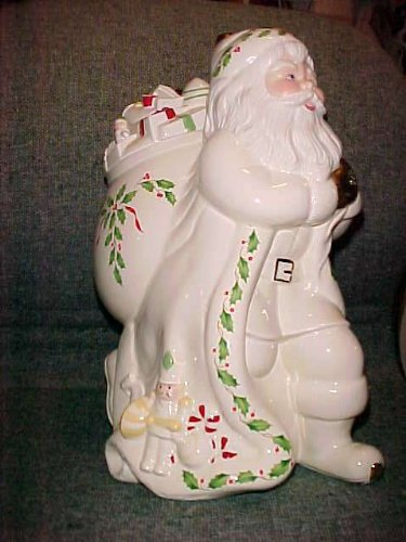 Lenox China Holiday Santa Skating Cookie Jar New in Box