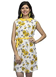 Indietoga Designer Fancy Floral print white yellow crepe One piece peter pan collar dress for Girls with detachable belt