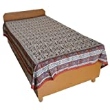 Block Printed Floral Bagru Print Design Cotton Flat Single Bed Sheet - B00GSSPBGQ