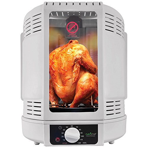 COUNTRTOP ROTISSERIE OVEN, Nutrichef Vertical Countertop Rotisserie Rotating Oven, 700W power output, Rotisserie spinning-style cooking, Max cooking temperature: 185°F, Reduces fat from within food...