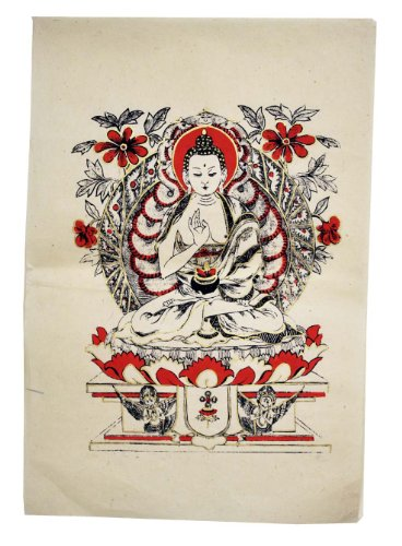 Sales!! Tibetan Handmade Lokta Paper Buddha Poster, Meditation and