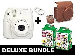 Fujifilm Instax Mini 8 - White + 40 Pack Instax Film + Brown Case + White Selfie Mirror