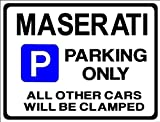 MASERATI Car Parking Sign - Gift for 3200 3500 GT GTA Granturismo Quattroporte models - Size Large 205 x 270mm by Custom (Made in UK) (All fixing included)