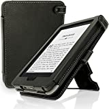 IGadgitz Premium Black PU Leather Case Cover for New Amazon Kindle 2014 (Touchscreen) 7th Generation with Viewing Stand + Auto Sleep/Wake + Hand Strap