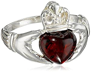Cherry Amber Sterling Silver Claddagh Ring, Size 6