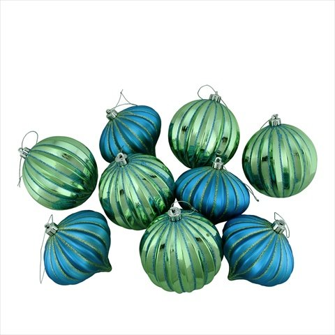 Peacock Blue & Green Shatterproof Onion & Ball Ornaments