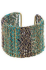 World Finds Fair Trade Teal Ombre Threaded Chain Cuff