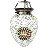 EarthenMetal Handcrafted Egg Shaped Mosaic Design Multi-Coloured Glass Hanging Light