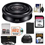Sony Alpha E-Mount 20mm f/2.8 Wide-Angle Pancake Lens with 32GB Card + NP-FW50 Battery + Case + 3 Filters Kit for A7, A7R, A7S Mark II, A5100, A6000, A6300