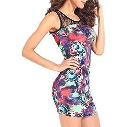 mywy - Abito donna vestiti fiori vestitino pizzo tubino fantasia floreale vestito abiti mini, colore blu, taglia M