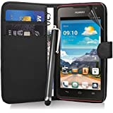Excellent Accessories® Huawei Ascend Y530 - Black Exclusive Leather Easy Clip On WALLET / FLIP Case / Cover / Pouch With Card Holders + Free Clear Screen Protector + Polishing Cloth + Touch Screen Stylus Pen