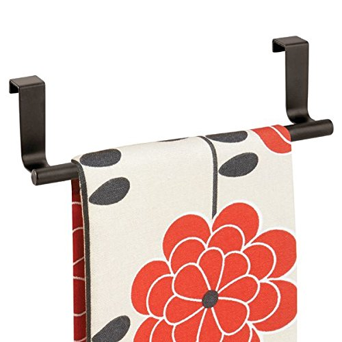 mDesign Over-the-Cabinet Kitchen Dish Towel Bar Holder - 9