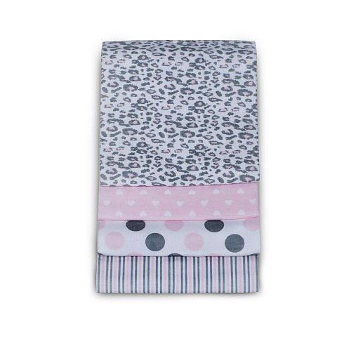 Carter'S Baby Girl Pink Gray Cheetah Heart Polka Dot Stripe Receiving Blanket (4 Pack) front-134713