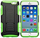 myLife Black + Grass Green {Armor Kickstand Design} 2 Layer Hybrid Case for the NEW iPhone 6 (6G) 6th Generation Phone by Apple, 4.7 Screen Version (Single External Fitted Hard Protector Shell + Full Body Internal Silicone EASY-Grip Bumper Gel Protection)