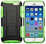myLife Black + Grass Green {Armor Kickstand Design} 2 Layer Hybrid Case for the NEW iPhone 6 (6G) 6th Generation Phone by Apple, 4.7