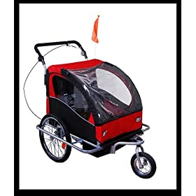 Aosom Elite II 2in1 Double Baby Bicycle Bike Trailer and Stroller - Red