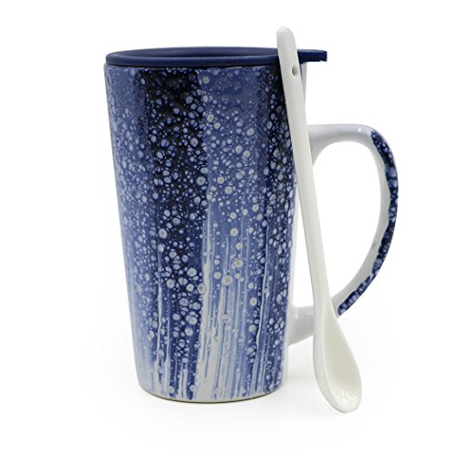 Asmwo 17-Oz Blue Ceramic Morning Mug for Milk, Coffee, Juice, Tea